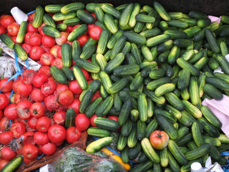 Edible tomatoes and cucumbers are being wasted in a dumpster.