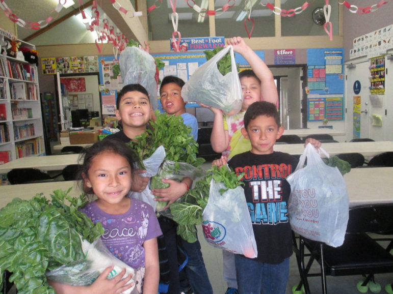 A group of smiling young children hold up bags overflowing with greens donated by Food Forward.