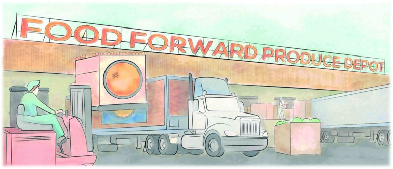 An illustration of the proposed Produce Depot depicts trucks lined up at a Warehouse loading dock while a Food Forward driver operates a forklift.