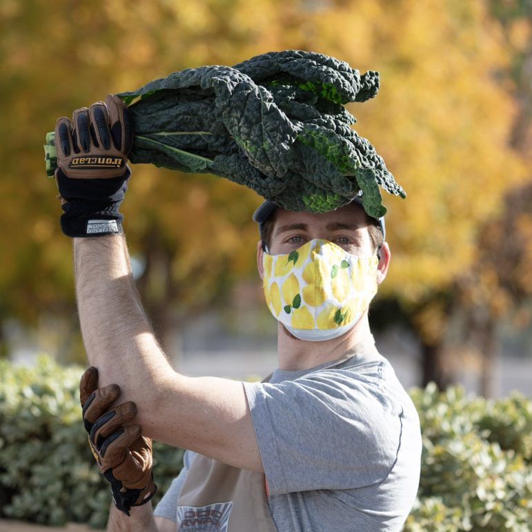 A man wears a face mask and holds a bunch of kale above his head.