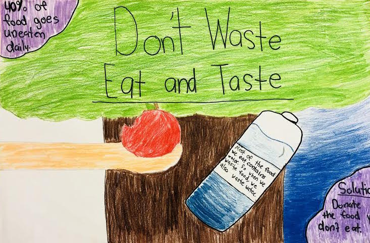 "Poster made by a student that says ""Don't Waste, Eat and Taste"" and shows a hand holding an apple."